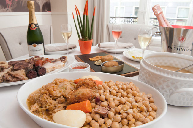 Cocido de Madrid con champagne francés